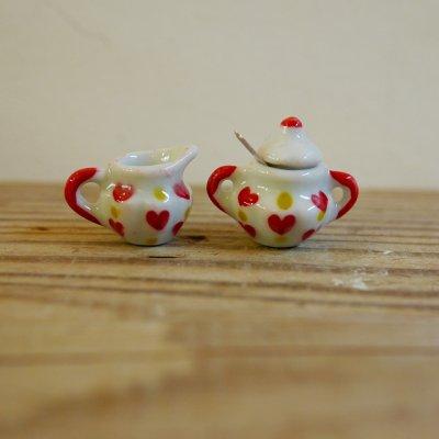 画像1: 陶器製 ミルクピッチャー/シュガーポット