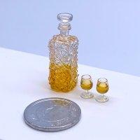 極小 グラスつき洋酒瓶セット ビン ウイスキー コニャック