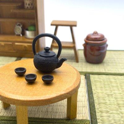 画像1: 鉄瓶風やかん&お茶碗セット 南部鉄瓶