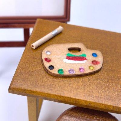 画像2: ミニチュア 木製お絵描きパレット