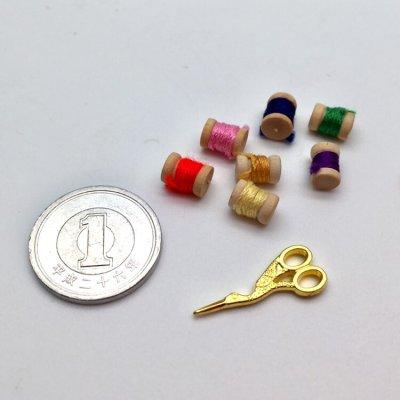 画像3: ミニチュア 木製糸巻き(糸付き)3個セット