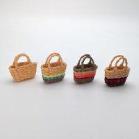 手編みカラフルバスケット(4色) かご