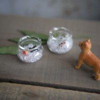 ガラスフリル金魚鉢S