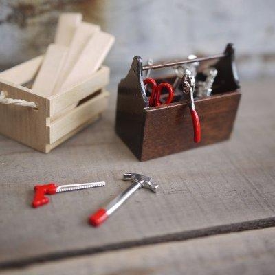 画像1: ミニチュア 木製工具箱&工具8点セット