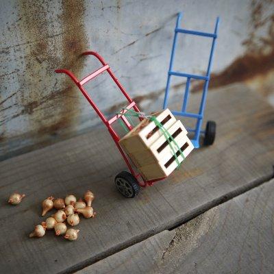 画像1: ミニチュア 二輪カート 台車(レッド/ブルー)