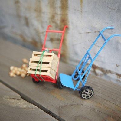 画像2: ミニチュア 二輪カート 台車(レッド/ブルー)