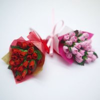 ミニチュア バラの花束(ピンク/レッド) ブーケ フラワーアレンジ